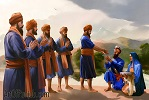 Panj Pyare giving Amrit to Sri Guru Gobind Singh Ji