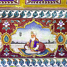 Fresco of Guru Amar Das at Sri Goindwal Sahib