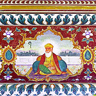 Fresco of Guru Nanak at Sri Goindwal Sahib