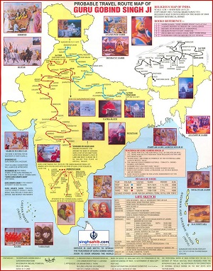 Probable travel route map of Guru Gobind Singh Ji