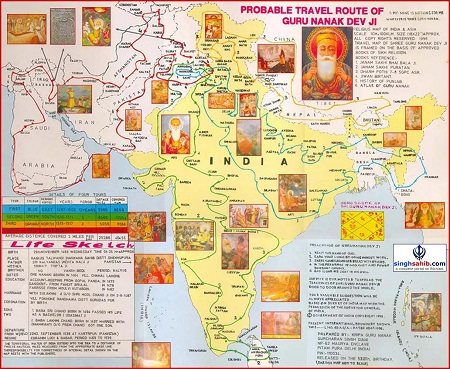 Probable travel route map of Guru Nanak Sahib Ji