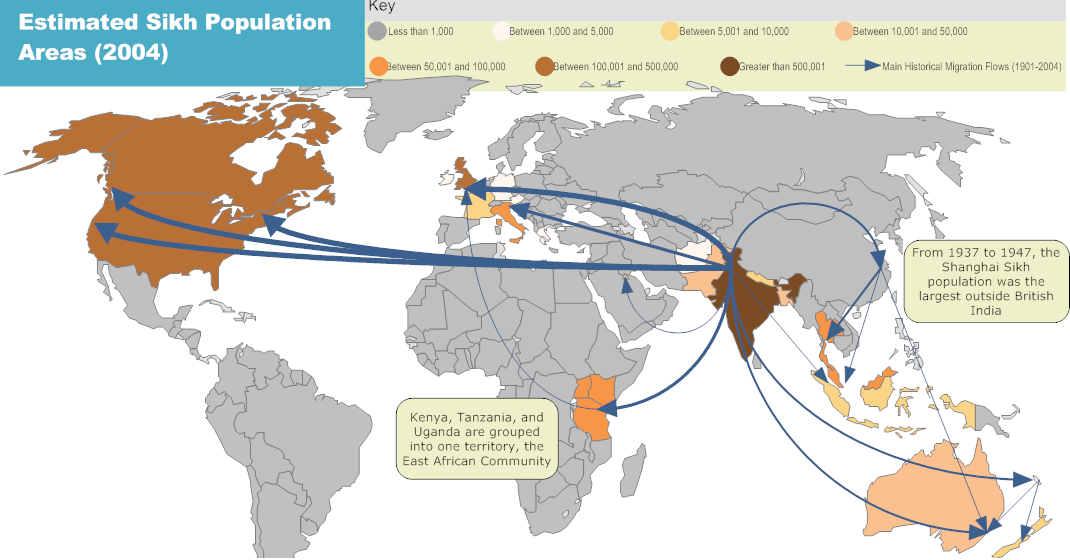 The spread of sikhism discover sikhism world sikh population in 2004 gumiabroncs Image collections